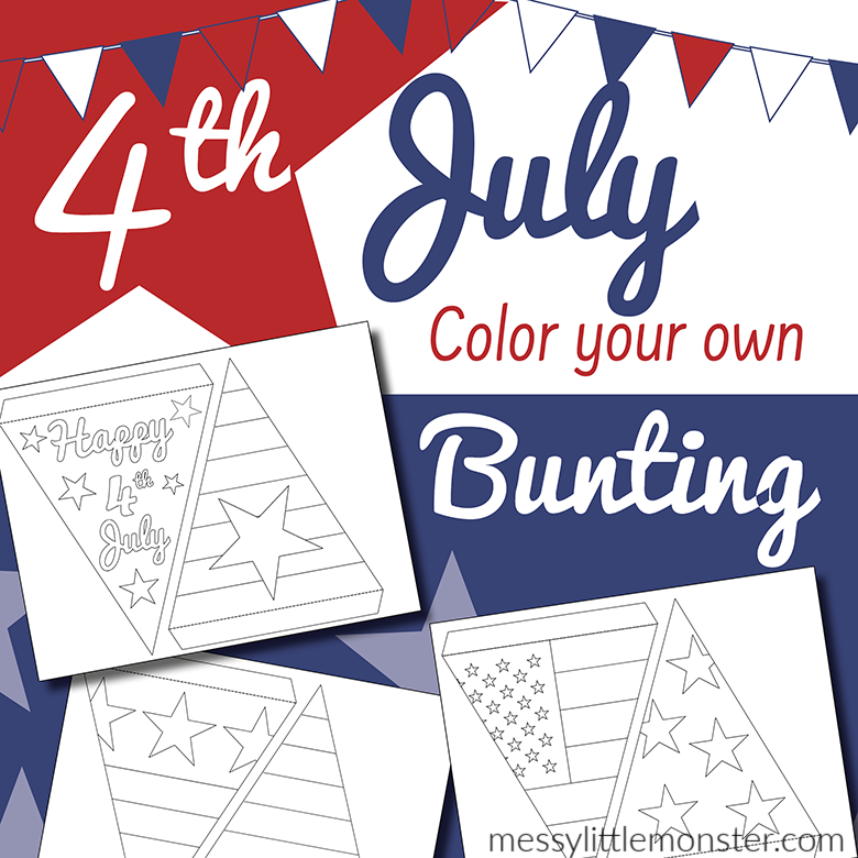 Fourth of July craft. making bunting template