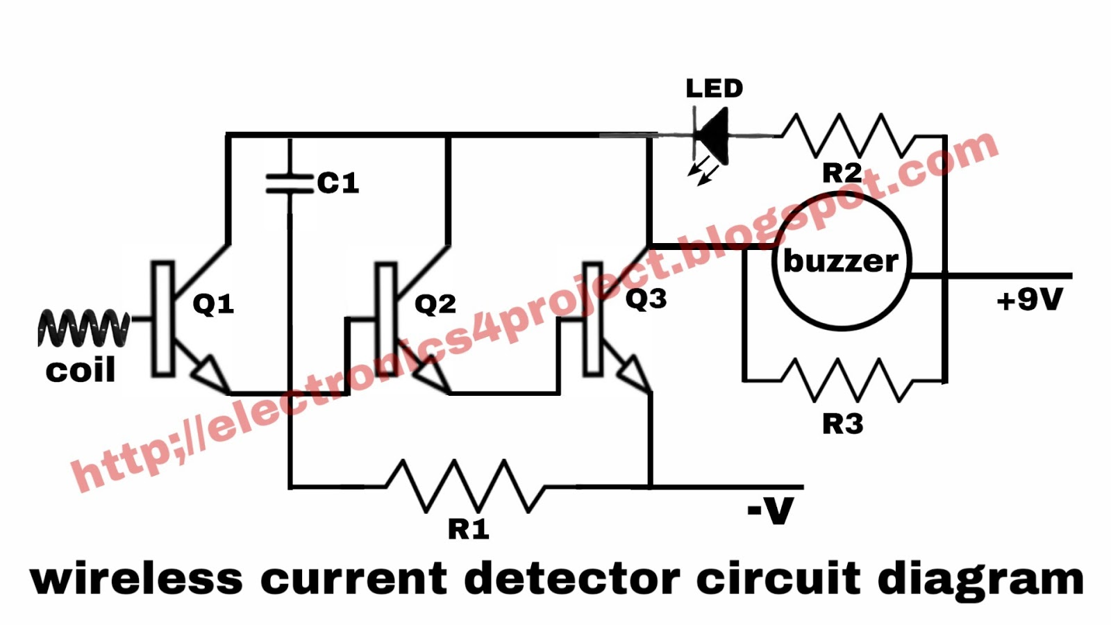 Electronics project: wireless current detector circuit diagram