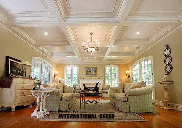 Coffered ceiling for luxurious interior