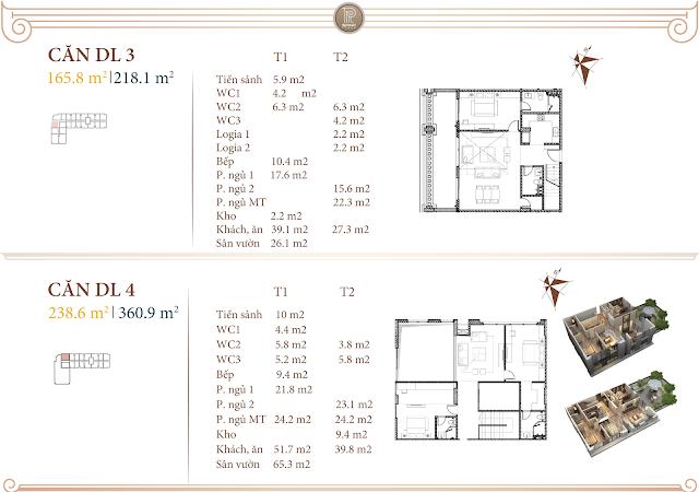 Mặt bằng thiết kế căn Duplex DL3 & DL4