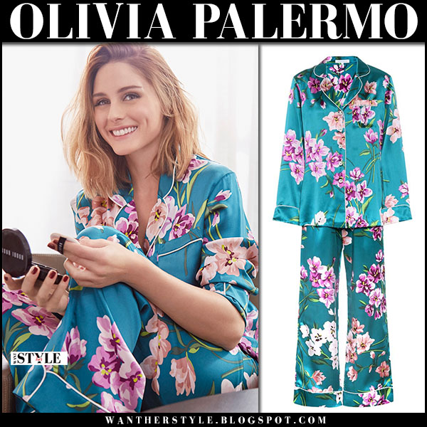 Olivia Palermo in green silk floral print pajama set olivia von halle sleepwear january 2018