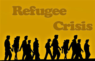 Refugee Crisis - silhouetted refugees against a yellow background