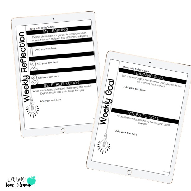 Image of 2 iPads with Weekly Learning Reflection form and Weekly Learning Goal form