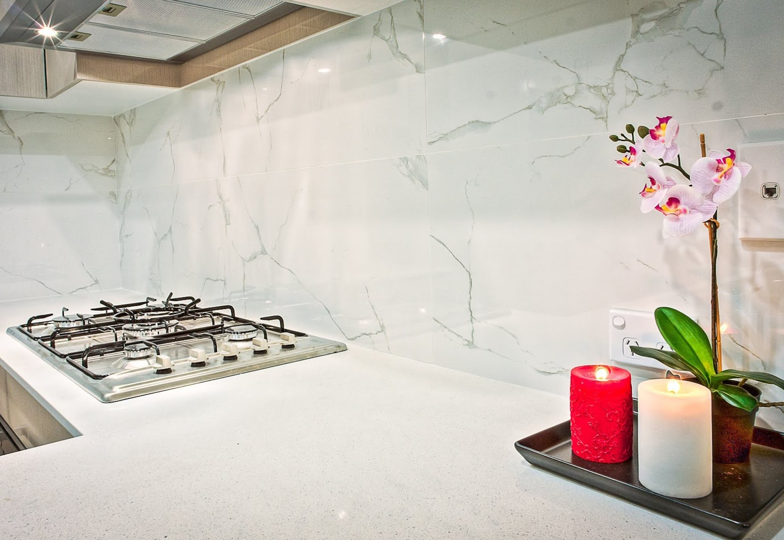 kitchen with a marble countertop