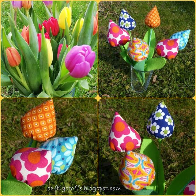 4 Kachel-Bilder mit Nahaufnahmen, bunte Tulpen aus Stoff