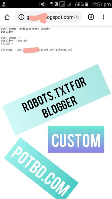 Custom Robots txt File In Blogger