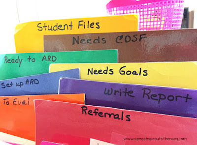 Organize your speech therapy files with colored and labeled dividers by your workflow. This way you can see what needs to be done at a glance. Read more speech room organization tips at www.speechsproutstherapy.com #speechsprouts #speechtherapy #organization #speechroom