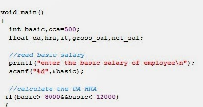 C Program to calculate the net salary of an employee | About Codes