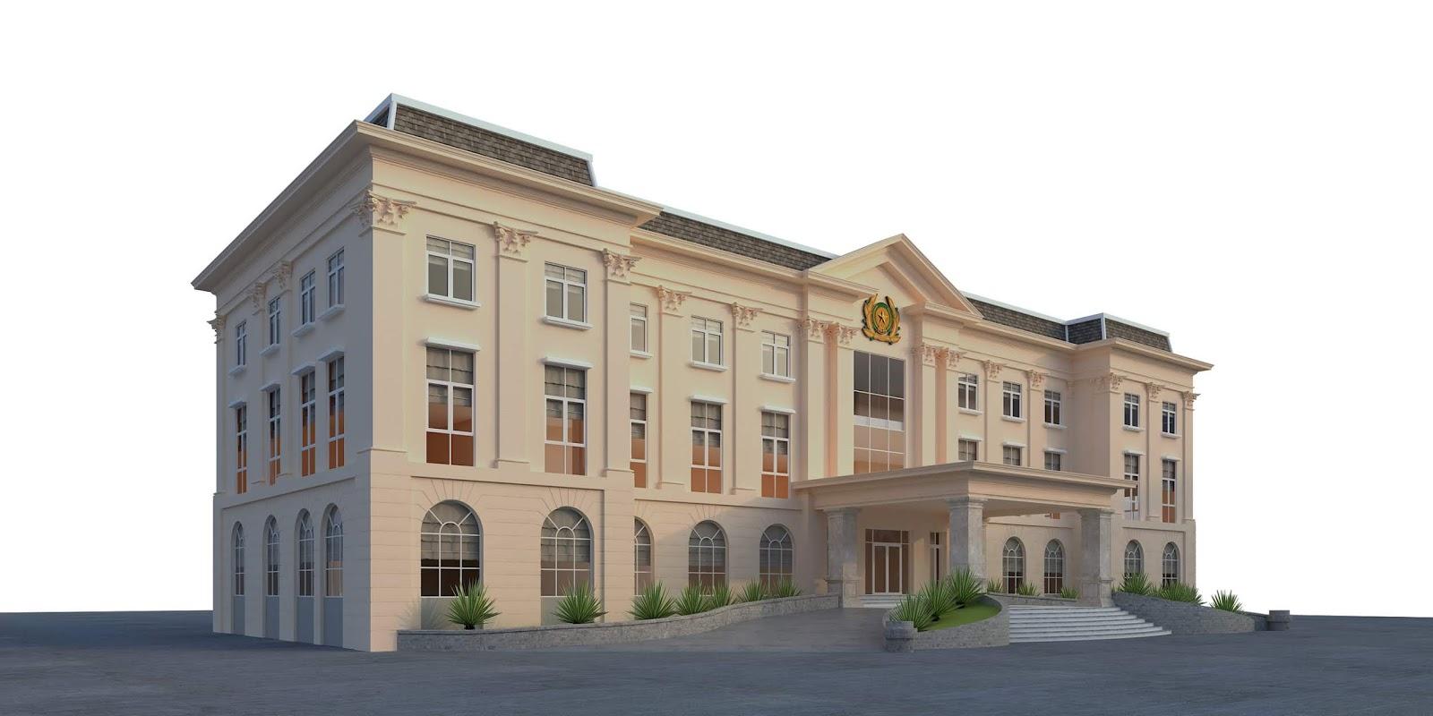 thiết kế 3d trụ sở làm việc kiểu cổ điển