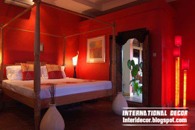 romantic red color tones in bedroom paints and decorations