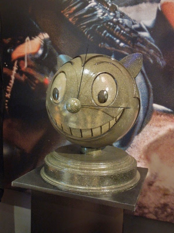 Batman Returns Max Shreck smiling cat logo prop