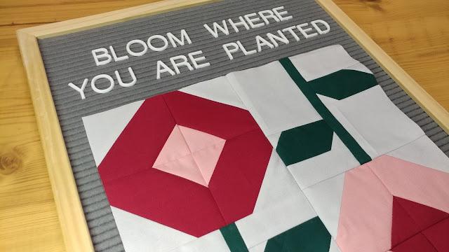 Rose Garden flower quilt block