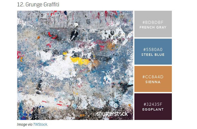 grey blue sienna eggplant color palette from grunge graffiti