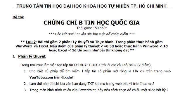 Bài tập - bài thi chứng chỉ tin học B - Đại học quốc gia Hồ CHí Minh - bài 17