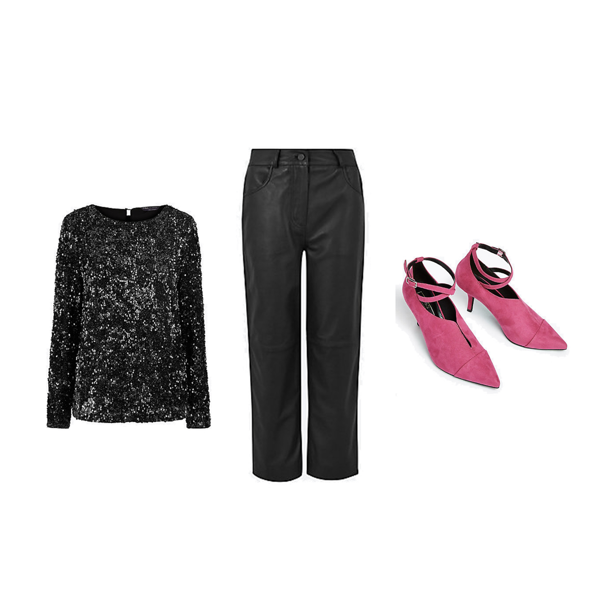 my midlife fashion, marks and Spencer party wear, party wear, marks and Spencer sequin long sleeve top, marks and Spencer leather cropped straight trousers, marks and Spencer crossover strap kitten heel court shoes