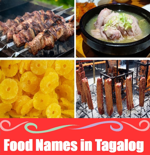 Food Names Vocabulary : Word List in Tagalog