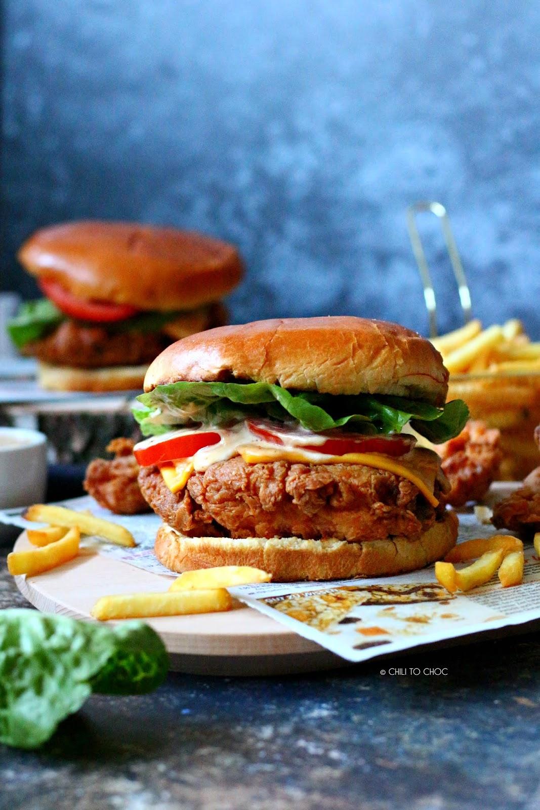 KFC-Style Crispy Chicken Burger (Zinger Burger) - photography