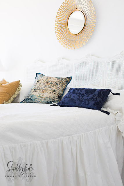 modern blue and white bedroom