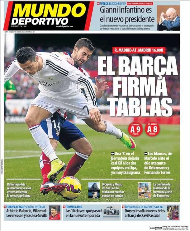 Portada del periódico Mundo Deportivo, sábado 27 de febrero de 2016