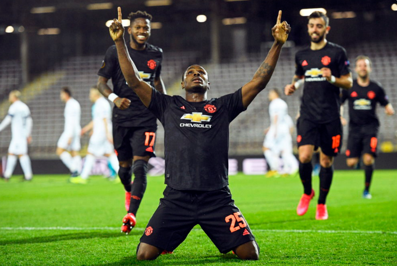 Odion Ighalo celebrates scoring for United in the Europa League