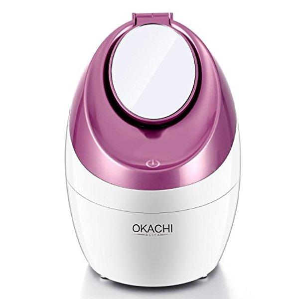 OKACHI GLIYA Gesichtssauna Gesichtsdampfer heiß Dampf Inhalator Professional Nano ionic Gesicht Dampfgerät, Luftbefeuchter, Facial Steamer Porenreinigung Hautpflege, mit Kosmetikspiegel & Timer- Rosa