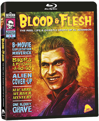 Cover art for Severin Film's BLOOD & FLESH: THE REEL LIE & GHASTLY DEATH OF AL ADAMSON!