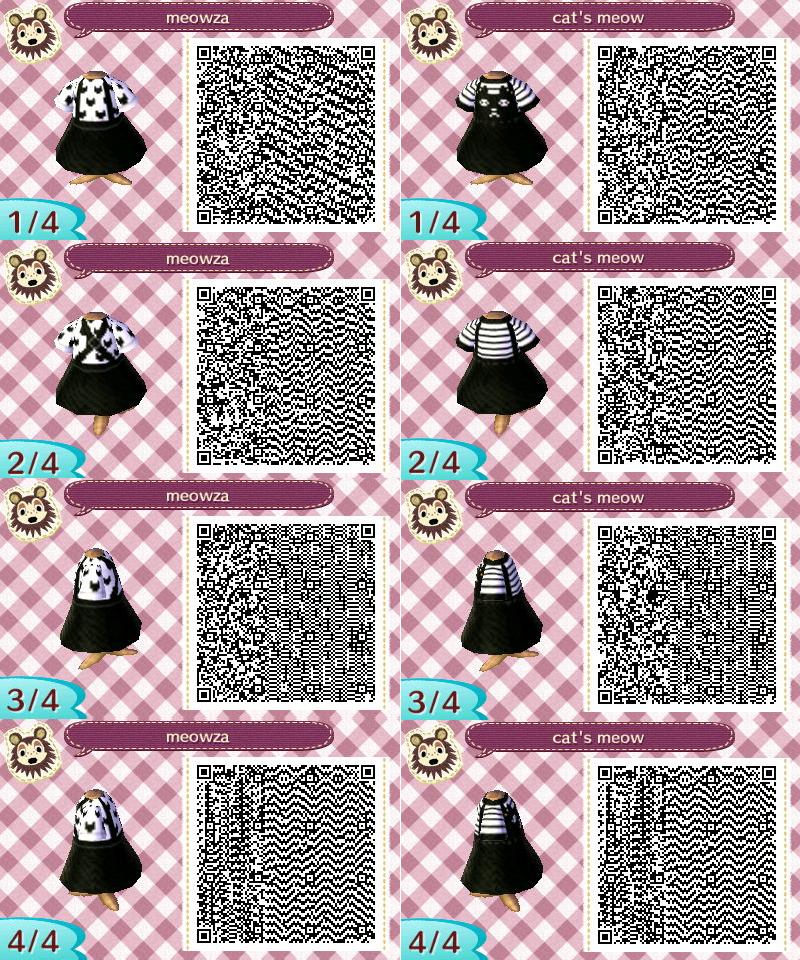 QR codes Animal Crossing pour créer une robe chat noir