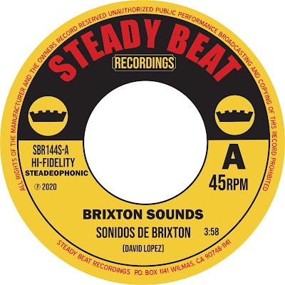 The artwork is a reproduction of a Steady Beat Recordings paper label for a vinyl single.