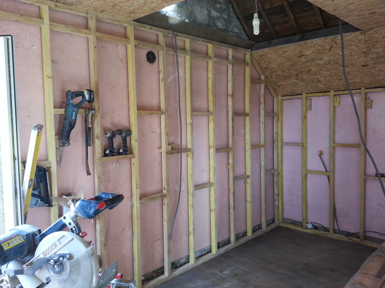 The Stud Work Is Not For Partitioning But For Adding Insulation To The Interior  Walls.