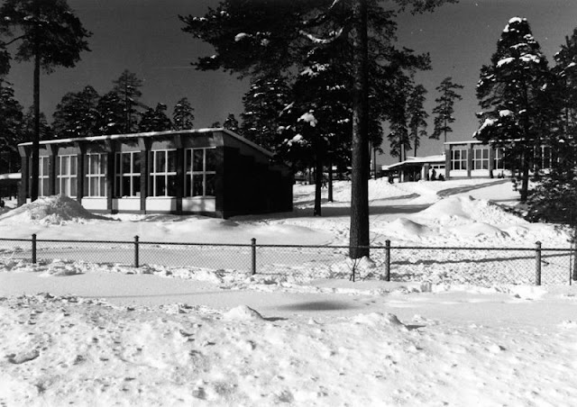 Mustavalkoinen kuva matalasta rakennuksesta lumisessa maisemassa. Edessä mäntyjä.