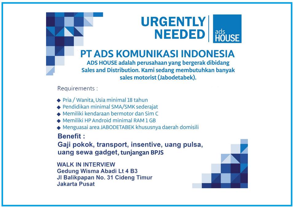 Loker SMA/SMK sederajat PT.ADS KOMUNIKASI INDONESIA (Adshouse)