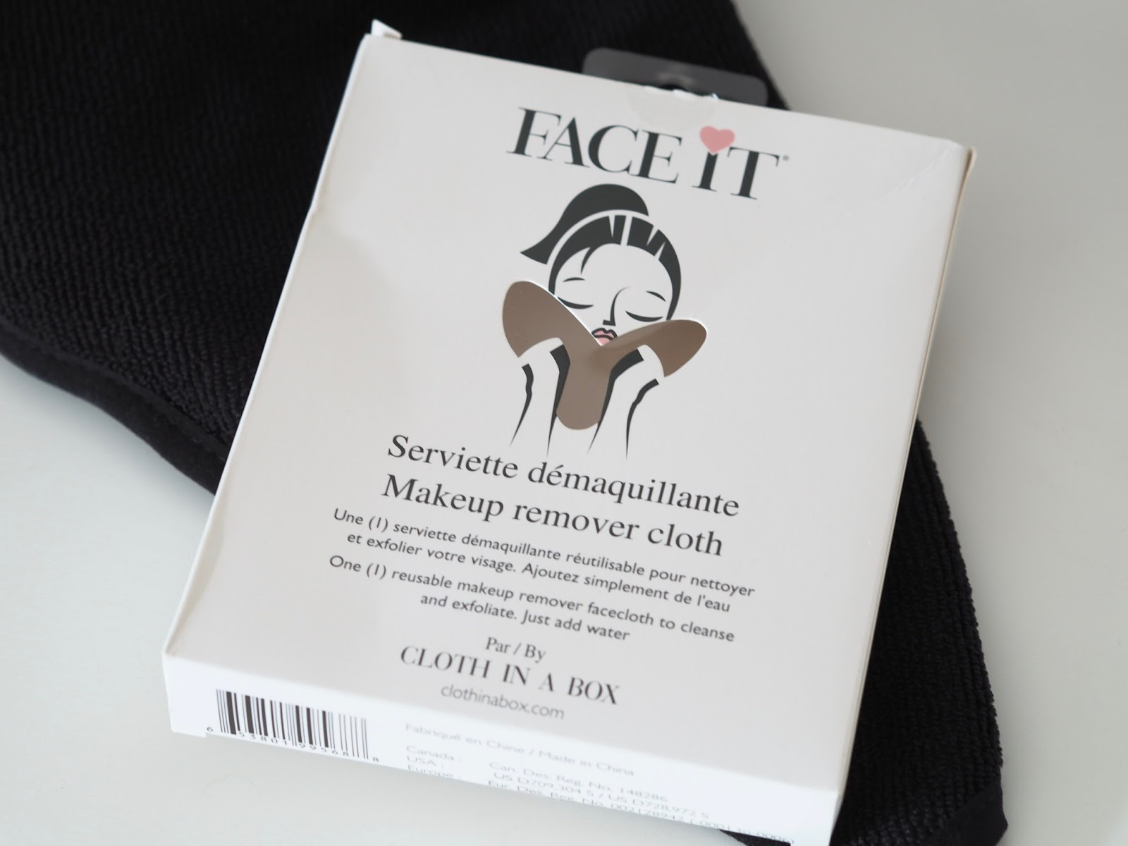MakeupboxLDN make up remover cloth in black microfibre