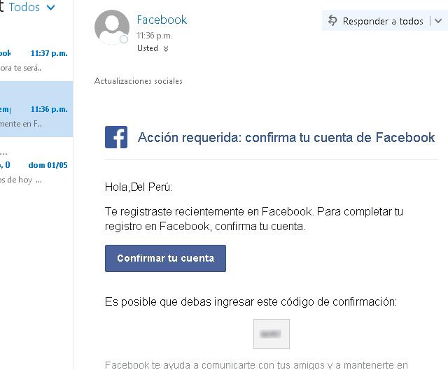 Confirmar cuenta Facebook