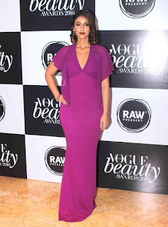 Ileana in a Bold deep Neck Roberto Cavalli gown at Vogue Beauty Awards 2016