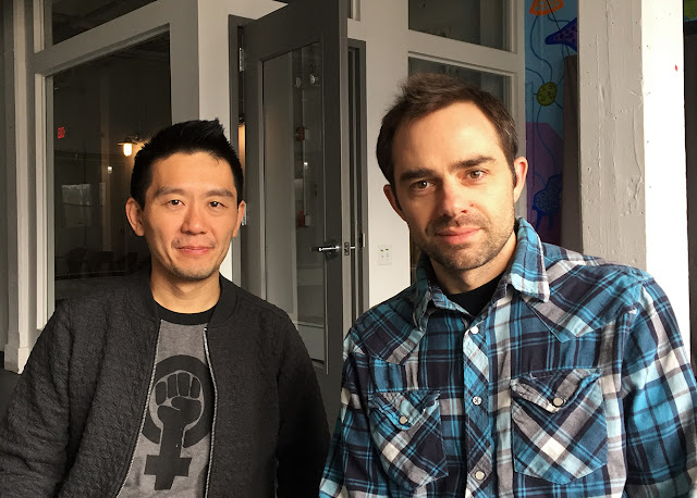 photo of composer Byron Au Yong and writer Aaron Jafferis