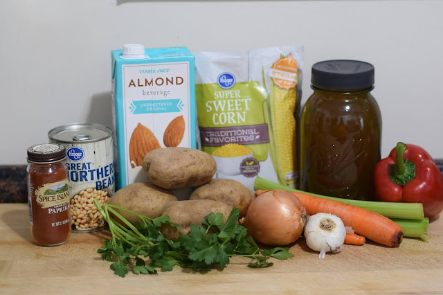The ingredients needed to make the vegan corn chowder.