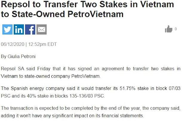 Tập đoàn dầu khí Repsol SA Tây Ban Nha sẽ rút khỏi Việt Nam?