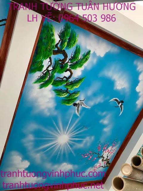 vẽ trần mây 3d và tranh tường tại ngã 4 me tam dương2