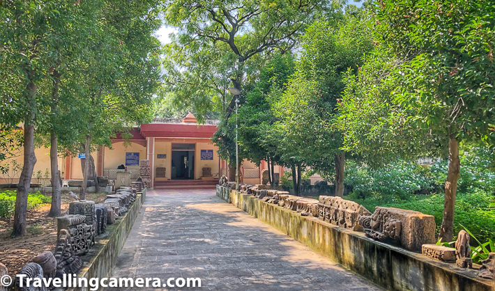 Above photograph shows a small museum located inside Modhera Sun Temple compound. As you enter through the main gate, which is close to the ticket counter, the very first cut on your left takes you to this museum. Public washrooms are located behind this museum, which were not very clean. This is a single storey museum with lot of sculptures preserved from different periods.