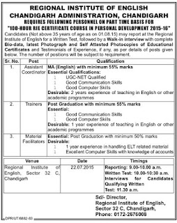 Walk in Interview Recruitment for Assistant Coordinator, Trainer, Material Facilitators for Regional Institute of English Chandigarh