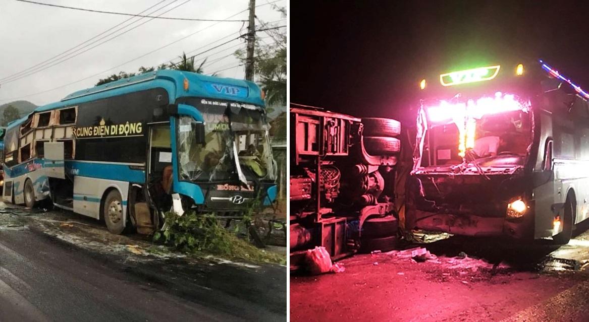 """2 xe khách biển Gia Lai (của cùng một nhà xe Hồng Hải) tông nhau """"vỡ nát"""" ở Bình Định"""
