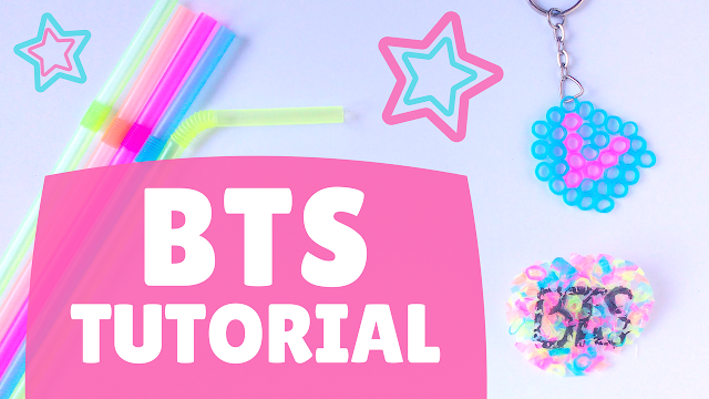 Koori Style, KooriStyle, Kpop, BTS, Keychain, LLavero, Pin, Broche, Brooch, Tutorial, DIY, Craft, Manualidad, Easy, Facil, Sencillo, Simple, Straw, Popote, Pajilla, Sorbete, Iron, Cute, Kawaii