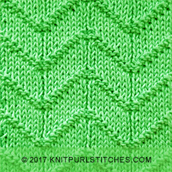Chevron stitch is worked over a combination of knit and purl stitches.