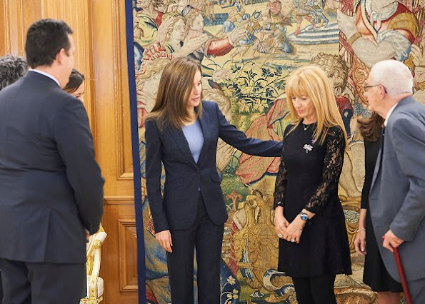 Queen Letizia of Spain greets members and collaborators of the ALMA Association against the Violence of Gender