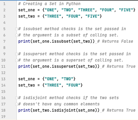 Subset, superset and disjoint in Python