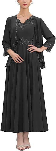 Chiffon Black Mother of The Groom Dresses