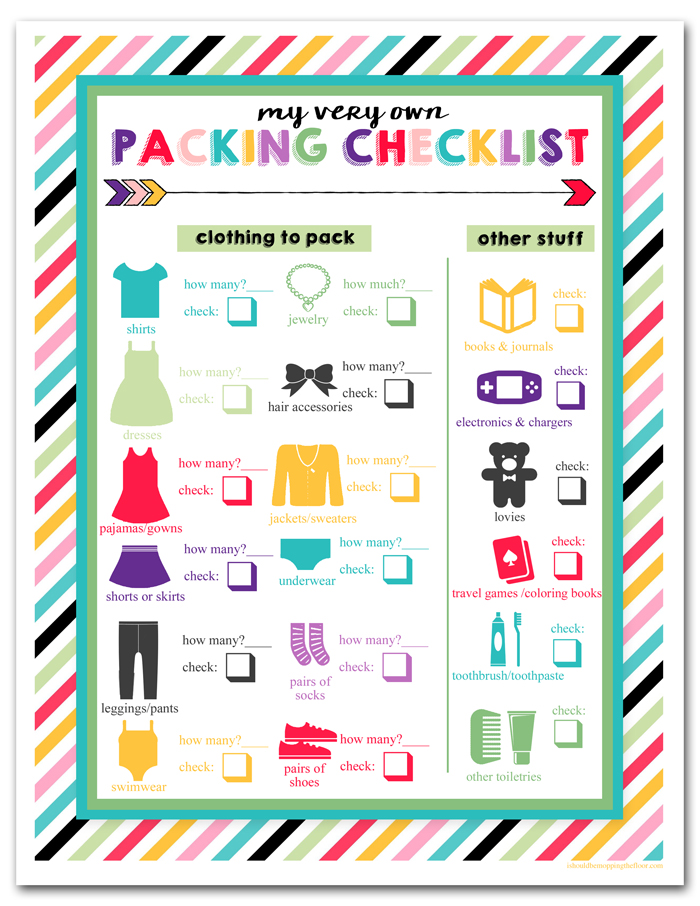 i should be mopping the floor Free Printable Children\u0027s Travel - Travel Checklist