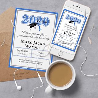 DIY invitation Blue Graduation 2020