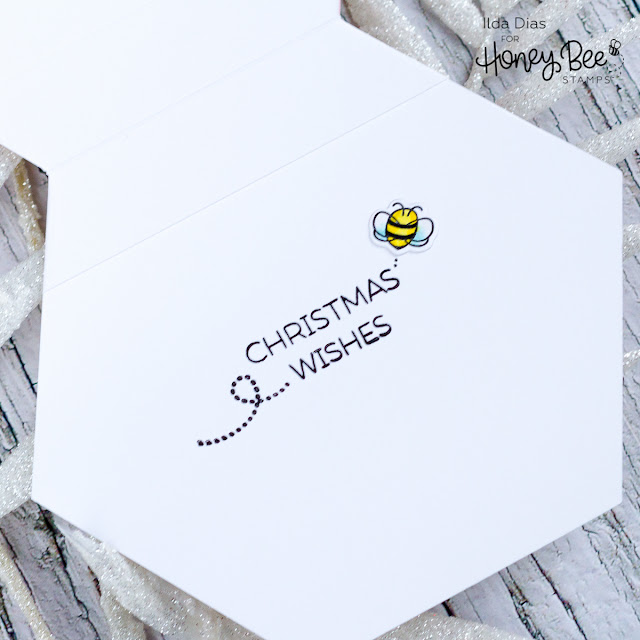 Honey Bee Hexagon Shaker Christmas Card | Honey Bee Stamps by ilovedoingallthingscrafty.com