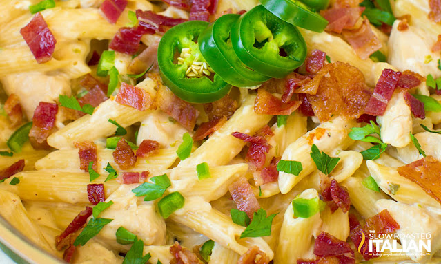 closeup photo: chicken bacon and pasta dinner